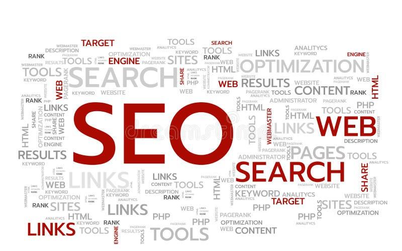 SEO-woorden Vector Illustratie De banner van het Web Word CLOUD stock illustratie