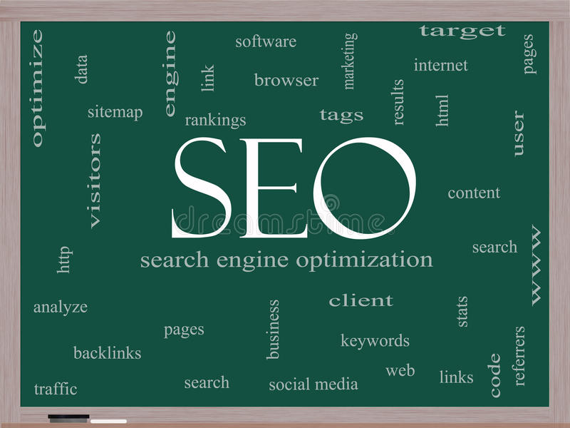 SEO Word Cloud Concept on a Blackboard. With great terms such as search, engine, optimization and more royalty free illustration