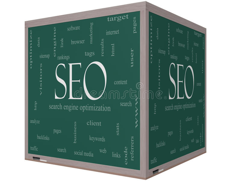 SEO Word Cloud Concept on a 3D cube Blackboard. With great terms such as search, engine, optimization and more stock illustration