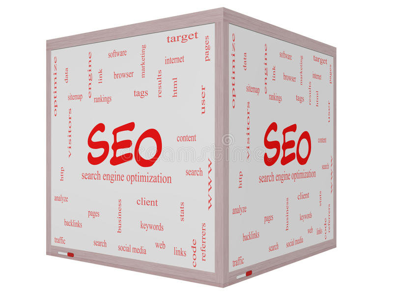 SEO Word Cloud Concept on a 3D cube Whiteboard. With great terms such as search, engine, optimization and more royalty free illustration