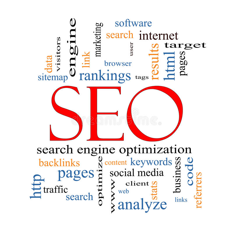 SEO Word Cloud Concept. With great terms such as search, engine, optimization and more vector illustration