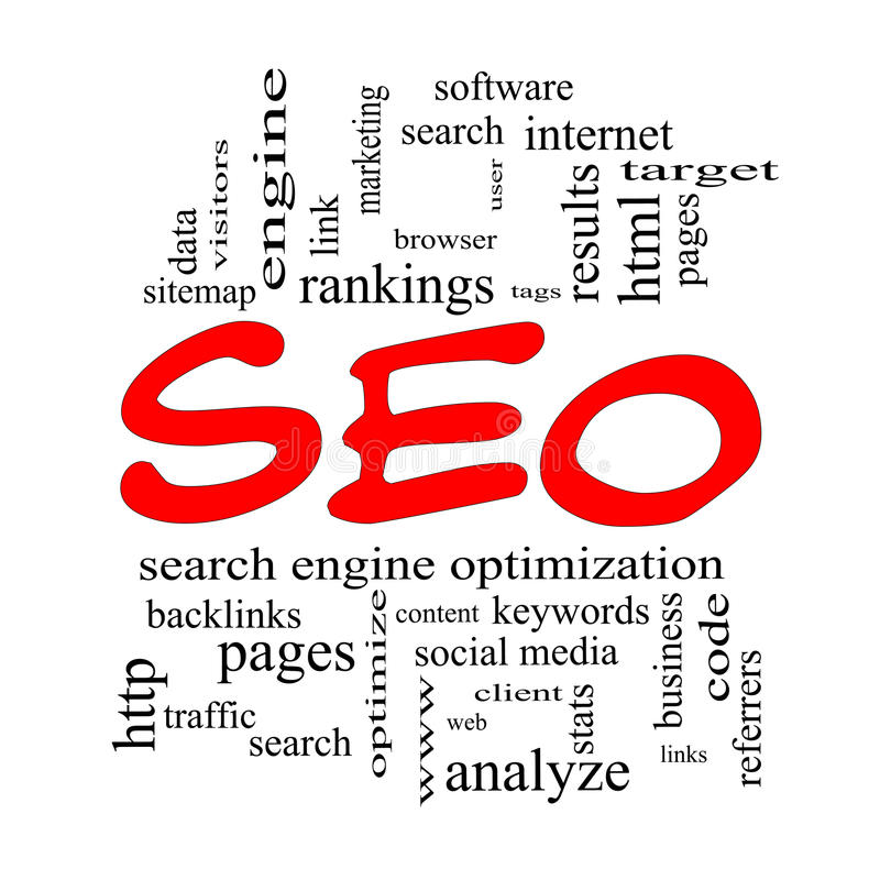 SEO Word Cloud Concept in red caps. With great terms such as search, engine, optimization and more stock illustration