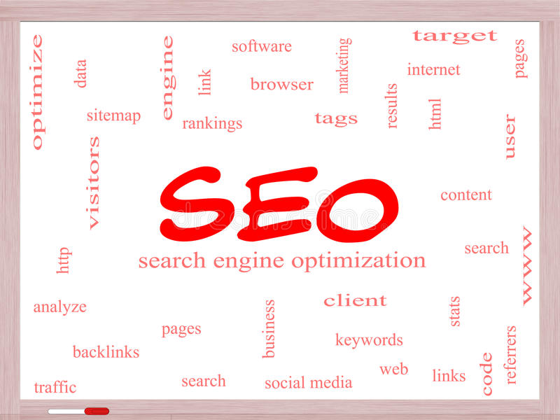 SEO Word Cloud Concept on a Whiteboard. With great terms such as search, engine, optimization and more royalty free illustration