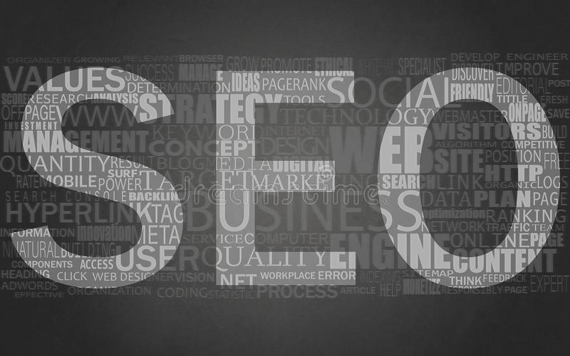 SEO word cloud or SEO search engine optimization. For Websites, Banner Wallpaper royalty free illustration