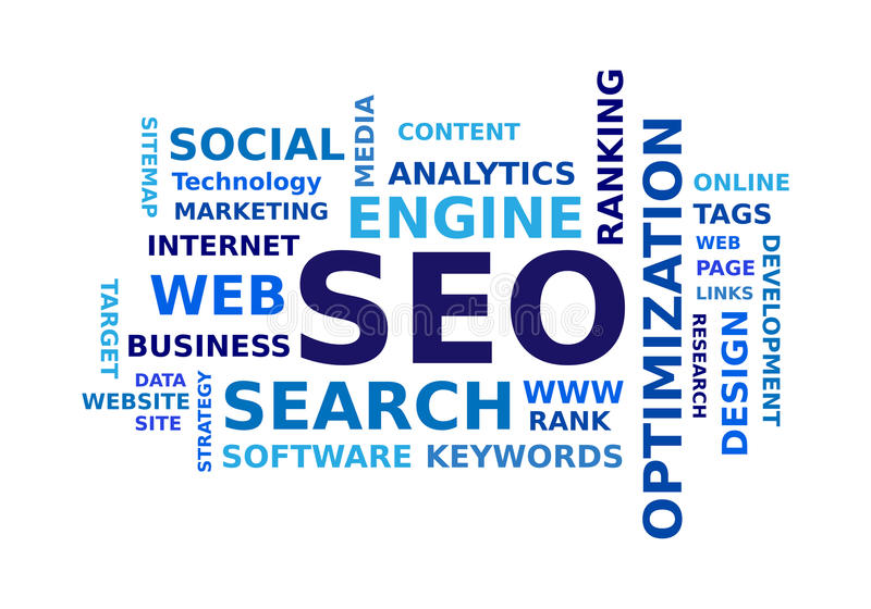 SEO word cloud. On white background vector illustration