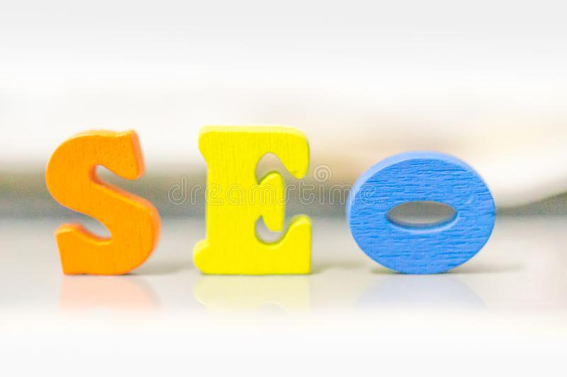 Seo word collected of wooden elements. Search Engine Optimization ranking concept. the idea of promote traffic to website. SEO is one of online marketing royalty free stock image