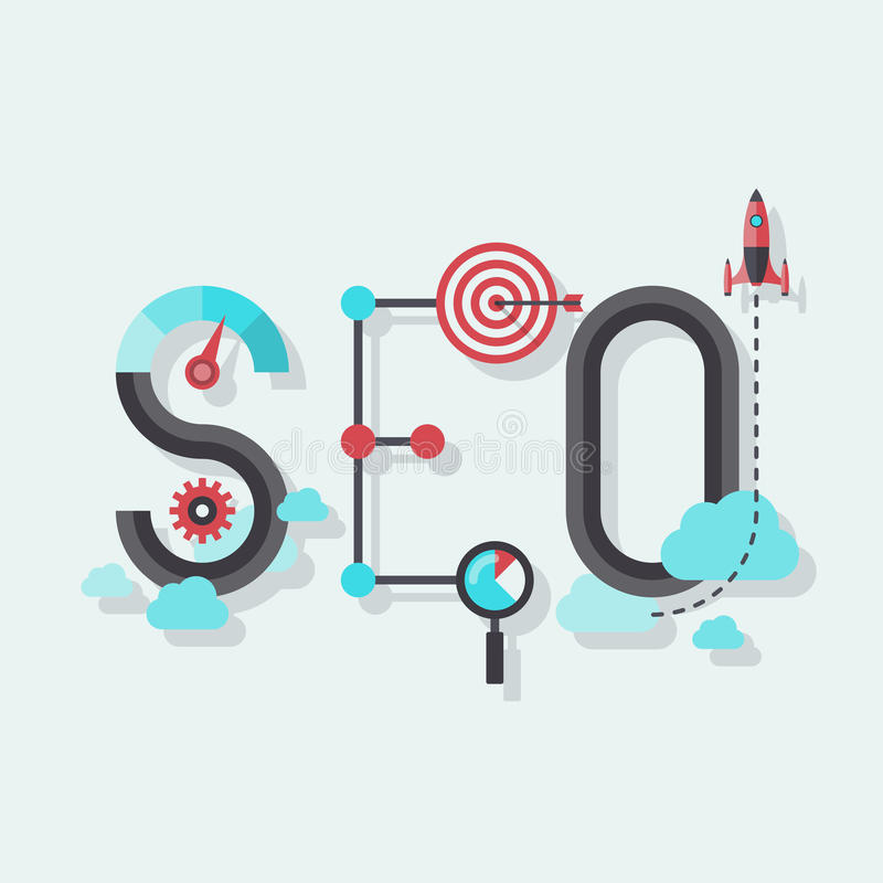 SEO word flat illustration. Flat design modern vector illustration concept of SEO word combined from elements and icons which symbolized a success internet