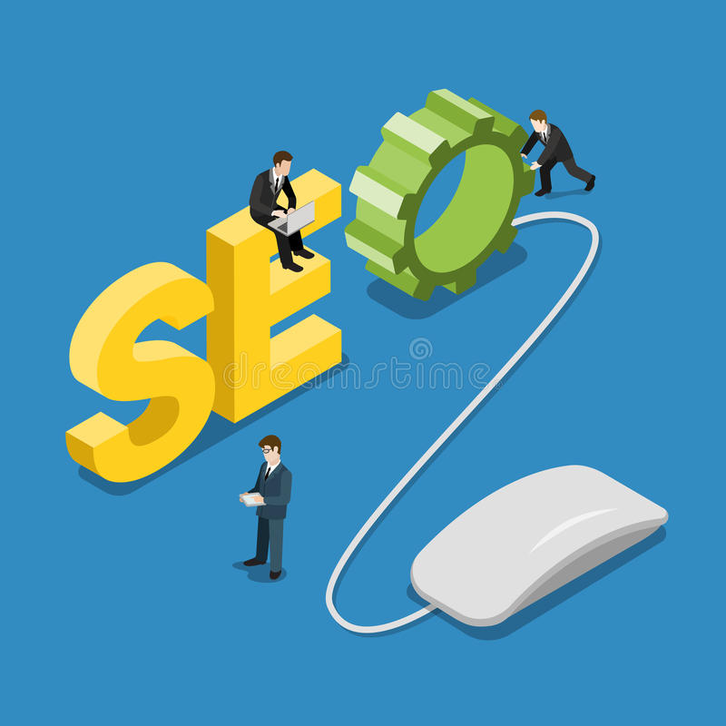 SEO word mouse and content manager people flat vector isometric stock illustration