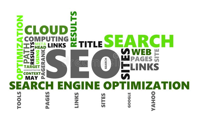 SEO Wordcloud-Halbtonbild stock abbildung