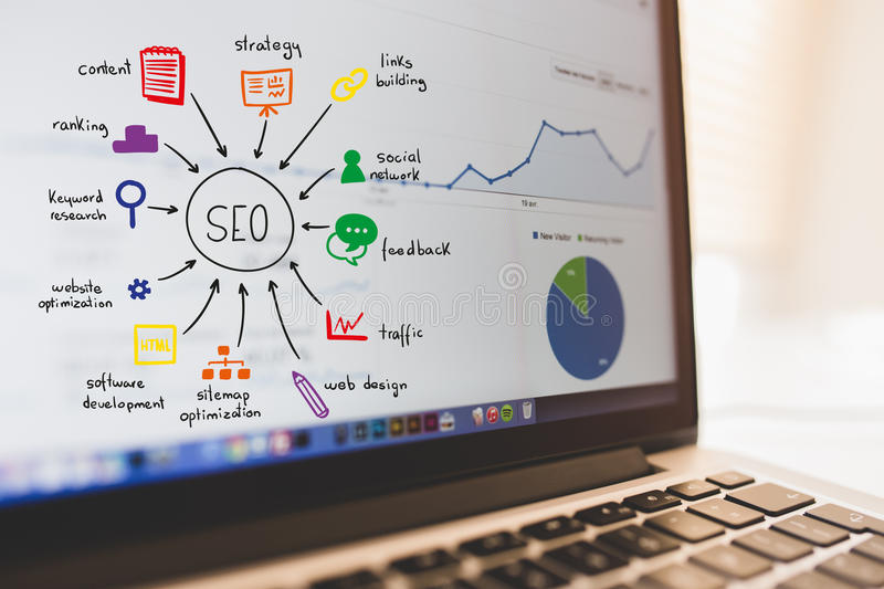 Seo Working lizenzfreie stockbilder