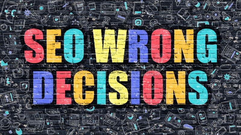 SEO Wrong Decisions en la pared de ladrillo oscura stock de ilustración