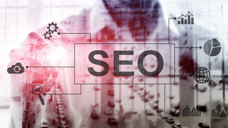 SEO - Wyszukiwarka optymalizacja, Cyfrowego marketing i internet technologii pojęcie na zamazanym tle, fotografia stock