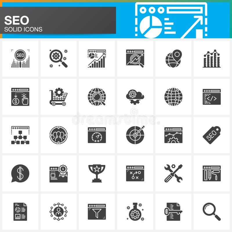 SEO, wyszukiwarka optymalizacja wektorowe ikony ustawiać, nowożytna stała symbol kolekcja, wypełniająca piktogram paczka odizolow ilustracji