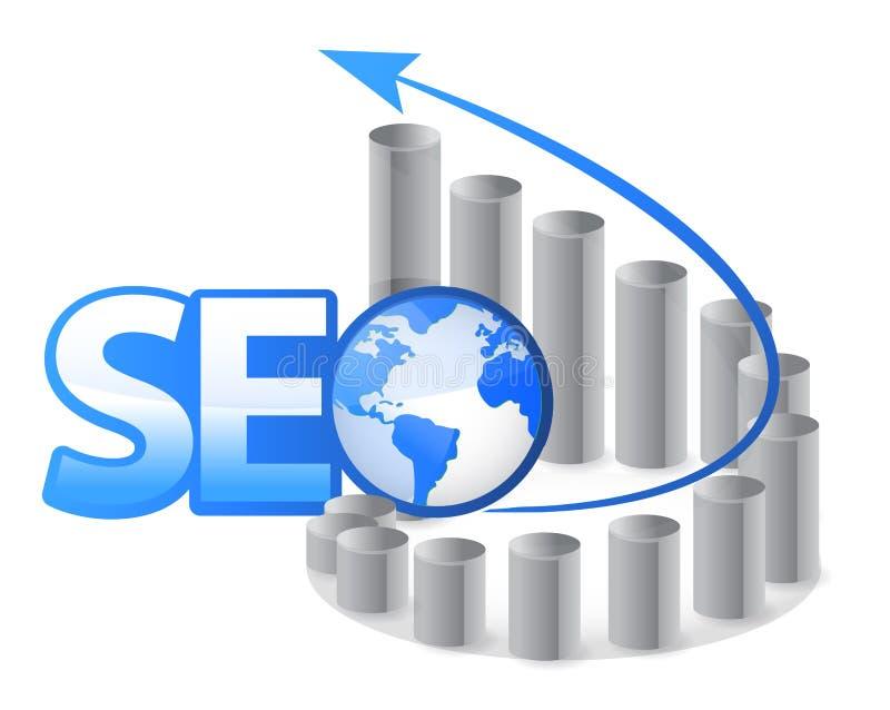 SEO - Wyszukiwarka optymalizacja z strzała royalty ilustracja