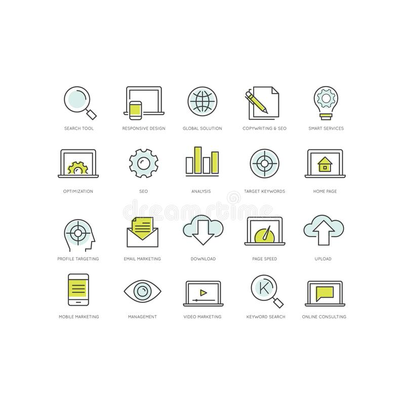 SEO wyszukiwarki Optimisation i socjalny sieci Medialny Marketingowy pojęcie ilustracja wektor