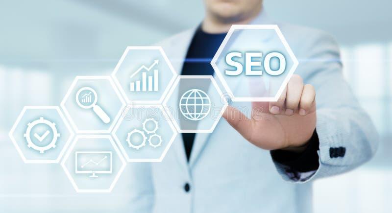 SEO wyszukiwarki optymalizacja rankingu ruchu drogowego Marketingowej strony internetowej technologii Internetowy Biznesowy pojęc obrazy stock