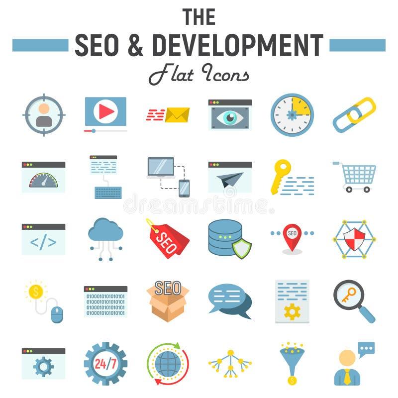 SEO y el sistema plano del icono del desarrollo, negocio firma ilustración del vector