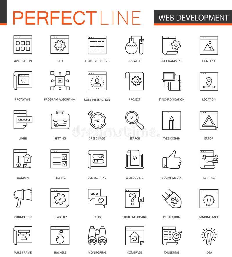 SEO y línea fina iconos del desarrollo del web fijados Diseño de los iconos del movimiento del esquema libre illustration