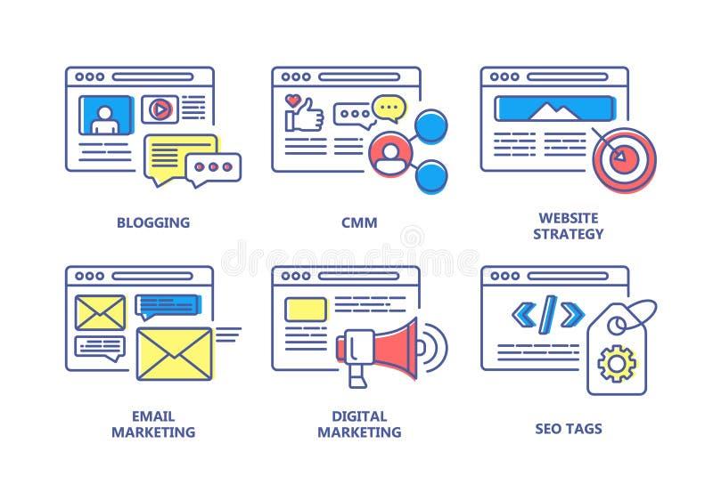 SEO y l?nea de color de comercializaci?n digital sistema de los iconos stock de ilustración
