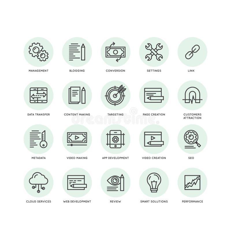 SEO y procesos de desarrollo, web y gestión móvil, programando y cifrando ilustración del vector