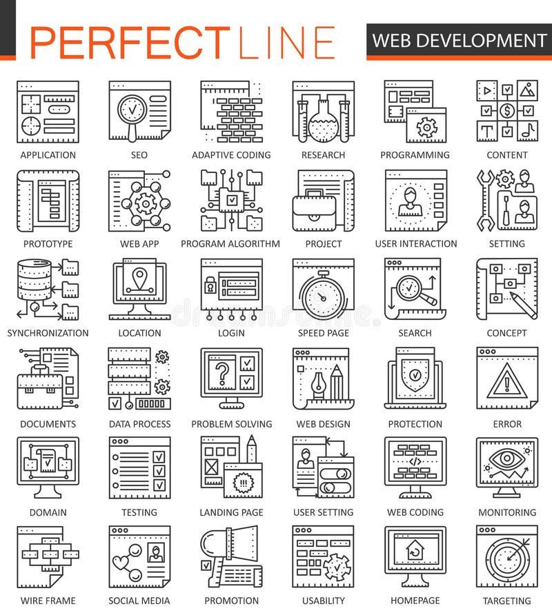 SEO y símbolos del concepto del esquema del desarrollo Línea fina perfecta iconos Ejemplos lineares del estilo del movimiento mod libre illustration