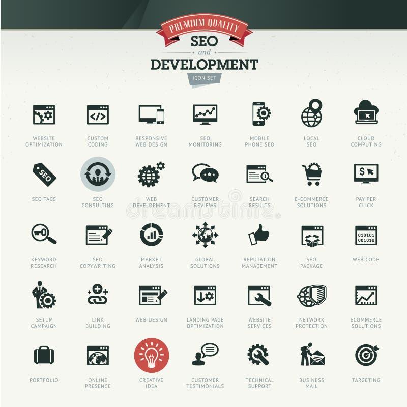 Seo y sistema del icono del desarrollo stock de ilustración