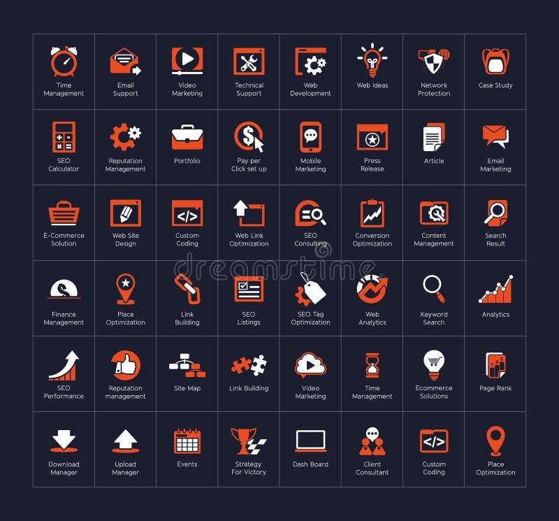 SEO y sistema del icono del desarrollo ilustración del vector