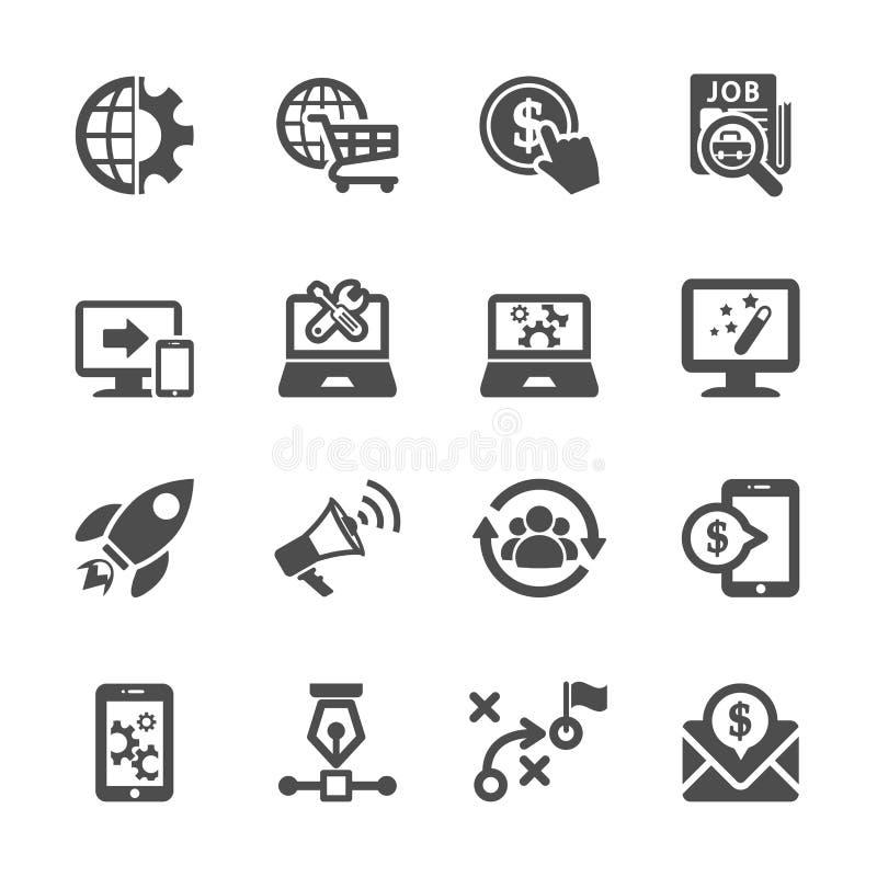 Seo y sistema del icono del márketing, vector eps10 stock de ilustración
