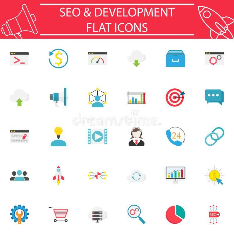 SEO y sistema plano del icono del desarrollo libre illustration
