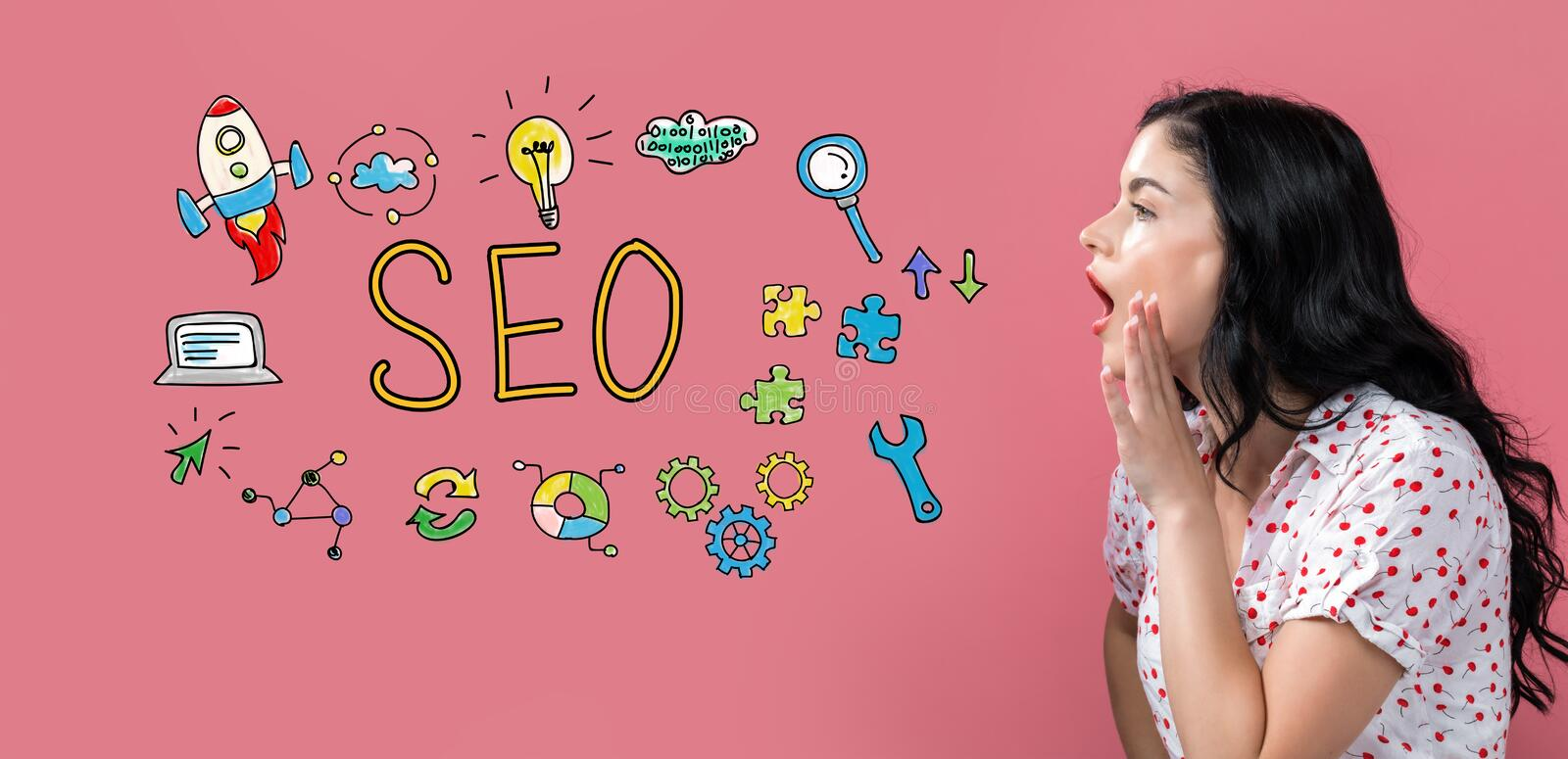 SEO with young woman speaking stock photos