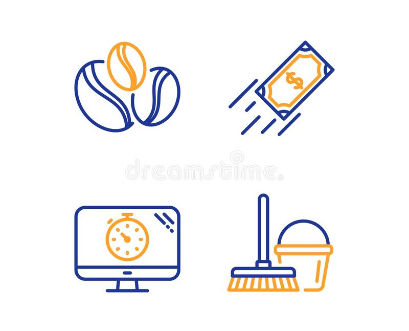 Seo zegar, jagod fasole i Szybkie p?atnicze ikony ustawiaj?cy, Wiadro z kwacza znakiem wektor royalty ilustracja