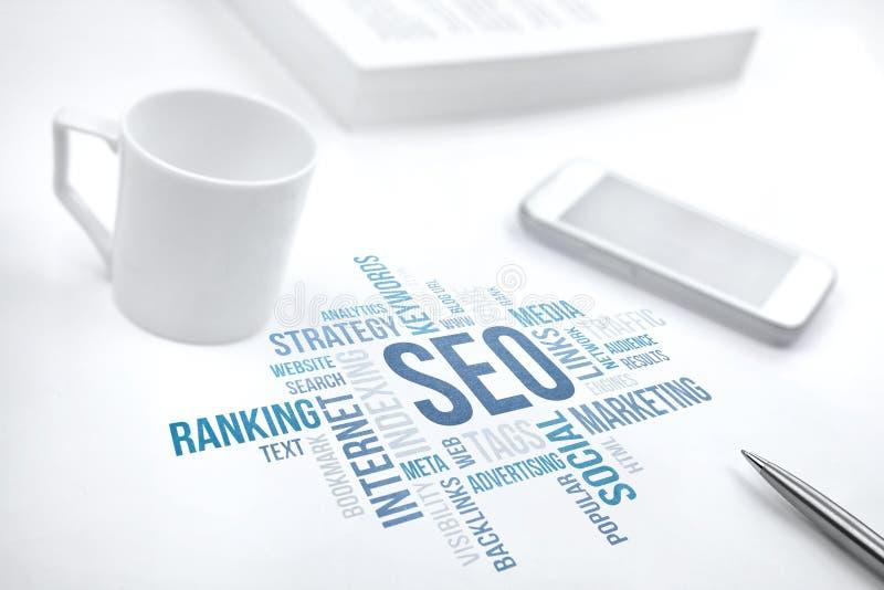 Seo, zoekmachineoptimalisering, de wolk van het bedrijfsconceptenwoord stock illustratie