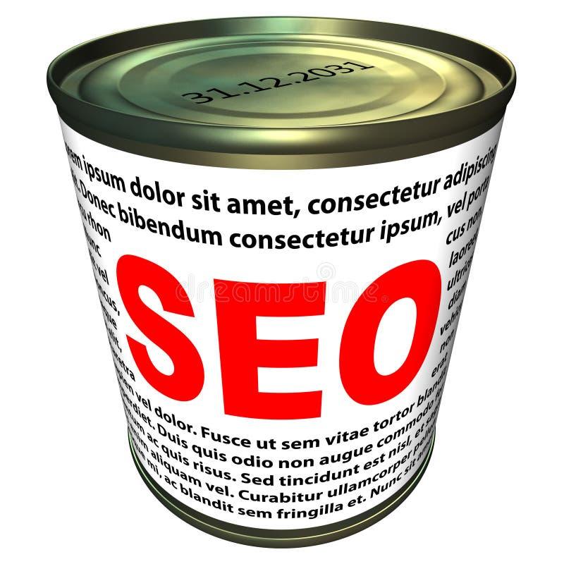SEO (zoekmachineoptimalisering) - kan van onmiddellijke SEO vector illustratie