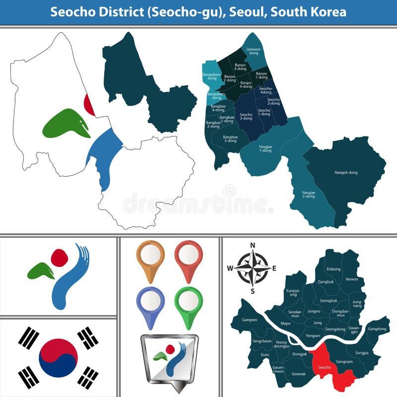 Seochodistrict, de Stad van Seoel, Zuid-Korea vector illustratie