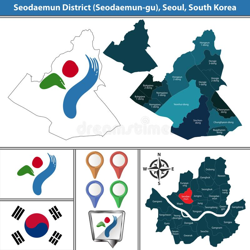 Seodaemundistrict, de Stad van Seoel, Zuid-Korea royalty-vrije illustratie
