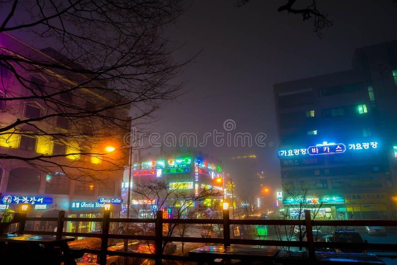 SEOEL - 5 maart 2016: Siheungneonlichten in Seoel, Zuid-Korea royalty-vrije stock afbeeldingen