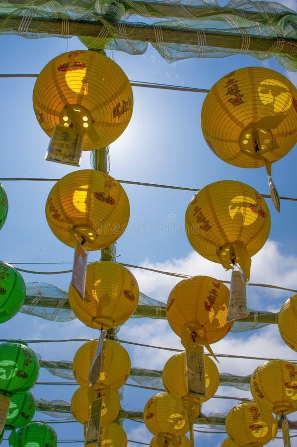Seokguram Bulguksa i groty UNESCO Świątynny światowe dziedzictwo Centre - pięknych kolorowych papierowych lampiony obraz royalty free