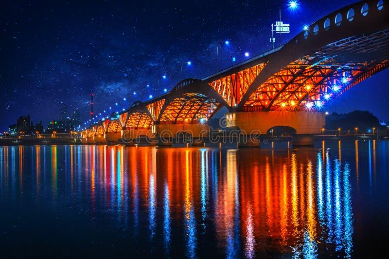 Seongsan bridge at night in Seoul, South Korea stock images