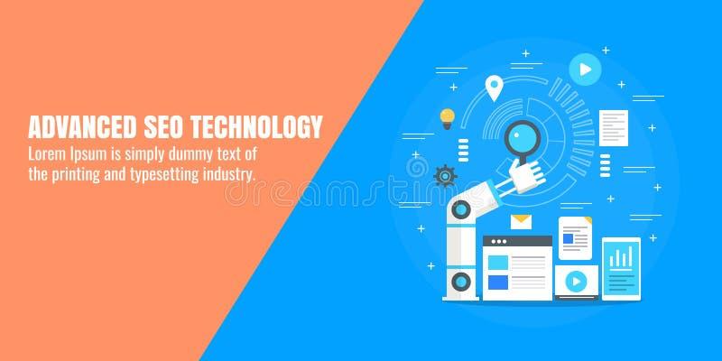 Seooptimalisering, digitale marketing automatisering, bedrijfstechnologie, robothand, onderzoeksconcept Vlakke ontwerp vectorbann royalty-vrije illustratie