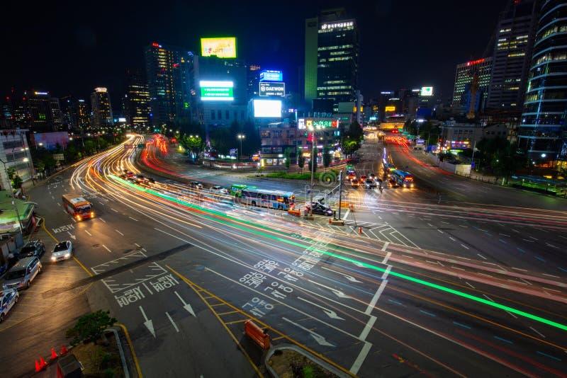 Seoul City Traffic At Night. SEOUL - AUGUST 21: A view of Seoul traffic at night from Seoullo 7017 which is a Skygarden near Seoul Train Station in South Korea stock photos