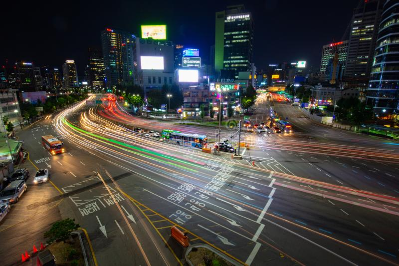 Seoul City Traffic At Night. SEOUL - AUGUST 21: A view of Seoul traffic at night from Seoullo 7017 which is a Skygarden near Seoul Train Station in South Korea royalty free stock images