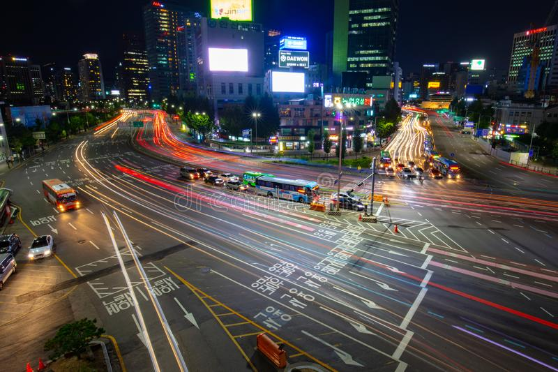 Seoul City Traffic At Night. SEOUL - AUGUST 21: A view of Seoul traffic at night from Seoullo 7017 which is a Skygarden near Seoul Train Station in South Korea stock images