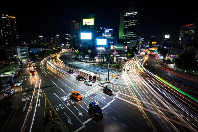 Seoul City Traffic At Night. SEOUL - AUGUST 21: A view of Seoul traffic at night from Seoullo 7017 which is a Skygarden near Seoul Train Station in South Korea stock image