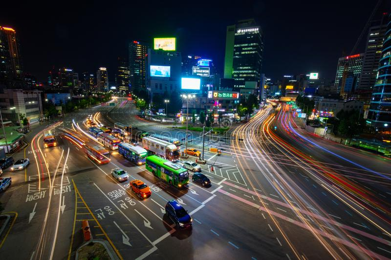 Seoul City Traffic At Night. SEOUL - AUGUST 21: A view of Seoul traffic at night from Seoullo 7017 which is a Skygarden near Seoul Train Station in South Korea royalty free stock image