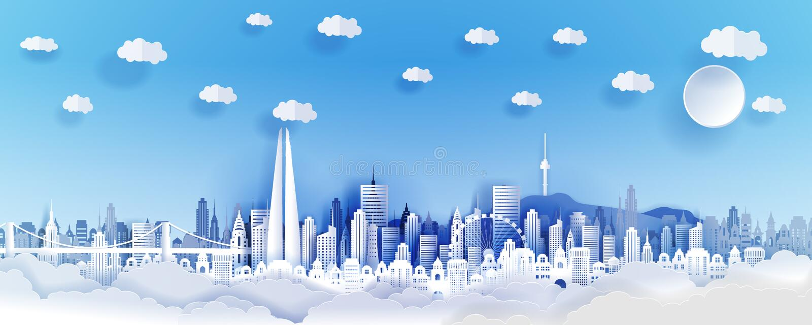 Seoul city concept, Korea. Paper art city on back with buildings, towers, bridge, clouds. royalty free illustration