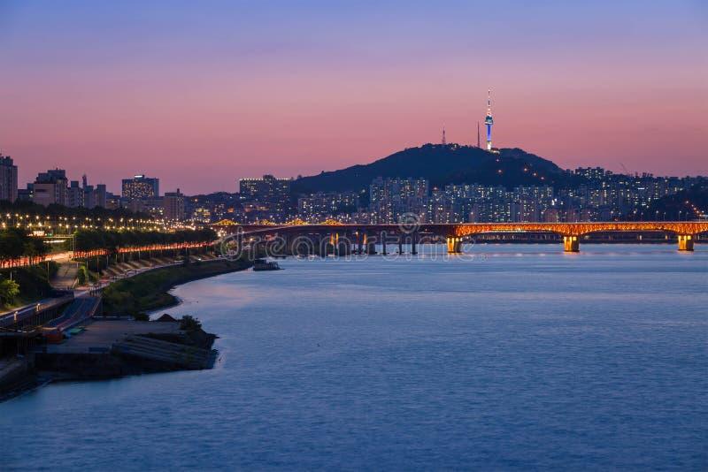 Seoul city and Han river. South Korea royalty free stock photo