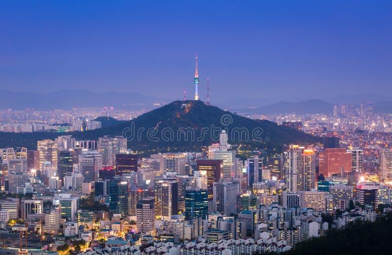Seoul city skyline stock photos