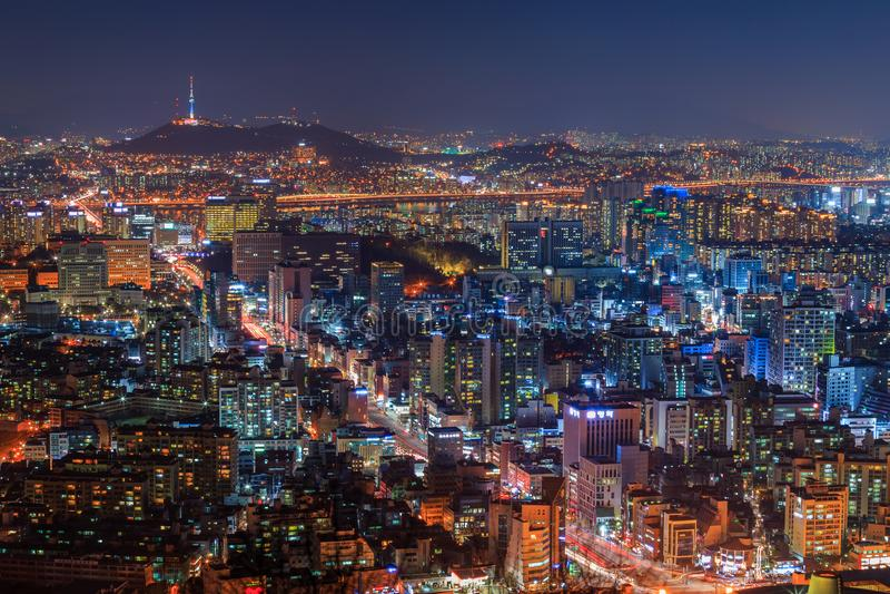 Seoul city Skyline. royalty free stock photo