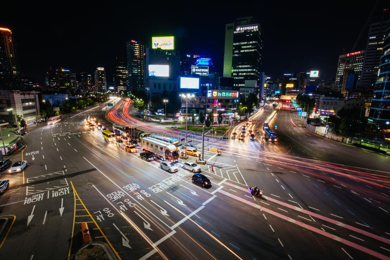 Seoul City Traffic At Night. SEOUL - AUGUST 21: A view of Seoul traffic at night from Seoullo 7017 which is a Skygarden near Seoul Train Station in South Korea royalty free stock photos