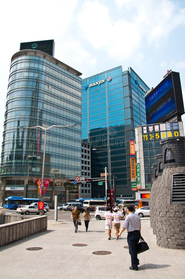 Seoul Corea del Sud del centro con l'edificio di Hanjin fotografie stock libere da diritti